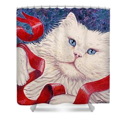 Snowy The Cat Shower Curtain by Linda Mears