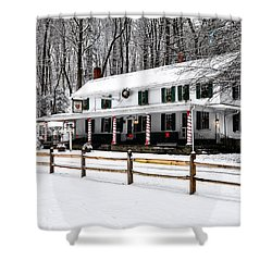 Snowy Valley Green Shower Curtain by Bill Cannon