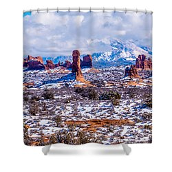 Snowy View In Arches Shower Curtain