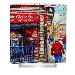 Snowy Walk By The Tea Room And Pastry Shop Winter Street Montreal Art Carole Spandau  Shower Curtain by Carole Spandau