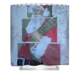 S'nta Claus Shower Curtain by Claudia Goodell