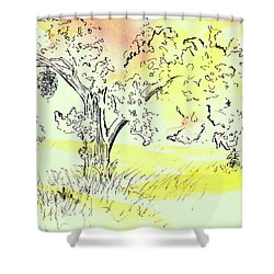 Shower Curtain featuring the painting Soaking Up The Sunset by Andrew Gillette