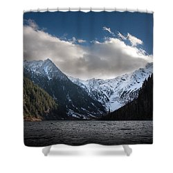 Soaring Mountain Lake Shower Curtain by Mike Reid