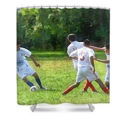 Soccer Ball In Play Shower Curtain by Susan Savad