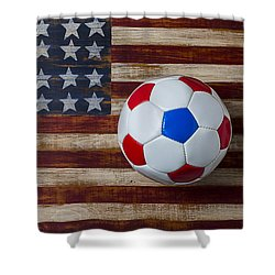 Soccer Ball On American Flag Shower Curtain by Garry Gay
