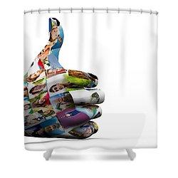 Social Media People Painted Hand In Ok Sign Shower Curtain by Michal Bednarek