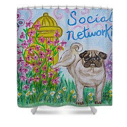 Social Networking Pug Shower Curtain by Diane Pape