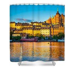 Sodermalm Skyline Shower Curtain by Inge Johnsson