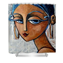 Shower Curtain featuring the painting Sofia by Oscar Ortiz