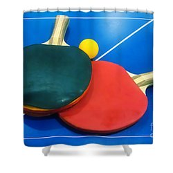 Soft Dreamy Ping-pong Bats Table Tennis Paddles Rackets On Blue Shower Curtain