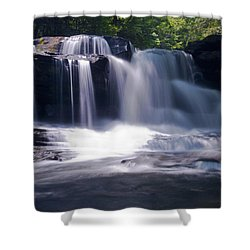 Soft Light Dunloup Falls Shower Curtain by Shelly Gunderson