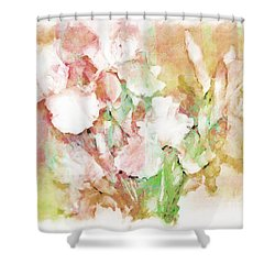 Soft Pink Iris Photo Art Shower Curtain by Debbie Portwood