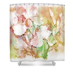Soft Pink Iris Photo Art Shower Curtain by Debbie Portwood