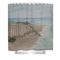 Soft Sea Shower Curtain by Barbara McDevitt