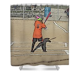 Softball Star Shower Curtain by Michael Porchik