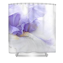 Shower Curtain featuring the photograph Softness Of A Lavender Iris Flower by Jennie Marie Schell