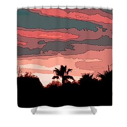 Shower Curtain featuring the digital art Solana Beach Sunset 1 by Kirt Tisdale