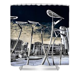 Solar City Shower Curtain by Wayne Sherriff