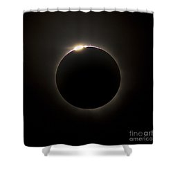 Solar Eclipse With Prominences Shower Curtain by Philip Hart