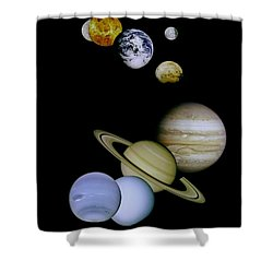 Solar System Montage Shower Curtain by Movie Poster Prints