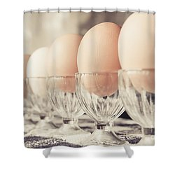 Soldier Eggs Shower Curtain by Cheryl Baxter