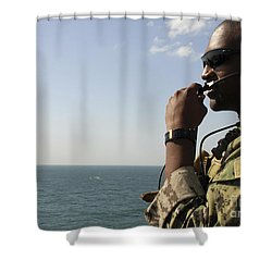 Soldier Instructs Small Boat Maneuvers Shower Curtain by Stocktrek Images