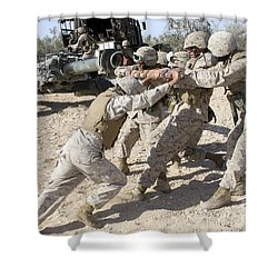 Soldiers Move The Muzzle-end Of A M777 Shower Curtain by Stocktrek Images