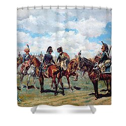 Soldiers On Horseback Shower Curtain by Jean-Louis Ernest Meissonier