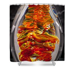 Flames -  Solid Glass Sculpture 13e5 Shower Curtain by David Patterson