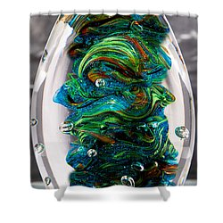 Solid Glass Sculpture - 13e7 - Blue Greens And Orange Shower Curtain by David Patterson