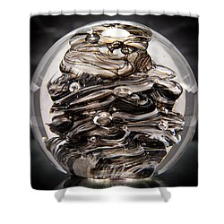 Solid Glass Sculpture 13r9 Black And White Shower Curtain by David Patterson