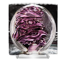 Solid Glass Sculpture Rp5 - Purple And White Shower Curtain by David Patterson