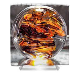 Solid Glass Sculpture - Rpo - Orange And Purple Shower Curtain by David Patterson
