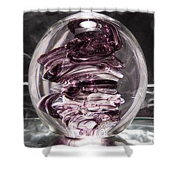 Solid Glass Sculpture Rpw Purple And White Shower Curtain by David Patterson