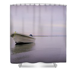 Solitary Boat Shower Curtain by Adam Romanowicz