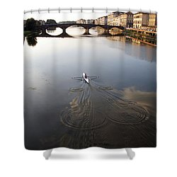 Solitary Sculler Shower Curtain