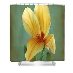 Shower Curtain featuring the painting Solitary Yellow Tulip by Sena Wilson