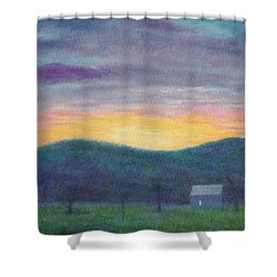 Blue Yellow Nocturne Solitary Landscape Shower Curtain