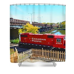 Solo Red Canadian Pacific Engine Along Rock River In Rockford Shower Curtain