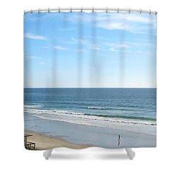 Solo Walk On Southern California Beach Shower Curtain by Connie Fox