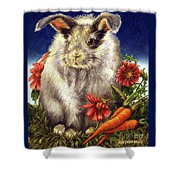 Some Bunny Is A Fuzzy Wuzzy Shower Curtain by Linda Simon
