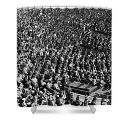 Baseball Fans At Yankee Stadium In New York   Shower Curtain by Underwood Archives