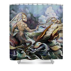 Something Fowl Afloat Redux Shower Curtain by Patrick Anthony Pierson