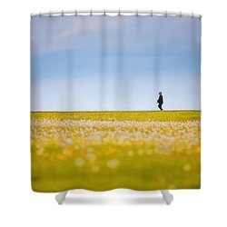 Sometimes We All Walk Alone Shower Curtain by Karol Livote