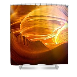 Shower Curtain featuring the photograph Somewhere In America Series - Gold Colors In Antelope Canyon by Lilia D