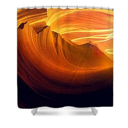 Shower Curtain featuring the photograph Somewhere In America Series - Golden Yellow Light In Antelope Canyon by Lilia D