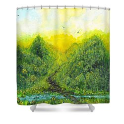 Shower Curtain featuring the painting Sonsoshone by Holly Carmichael