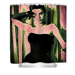 Sophia Loren - Pink Pop Art Shower Curtain by Absinthe Art By Michelle LeAnn Scott