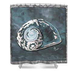 Sophisticated Coastal Art Original Sea Shell Painting Beachy Sea Snail By Megan Duncanson Of Madart Shower Curtain by Megan Duncanson