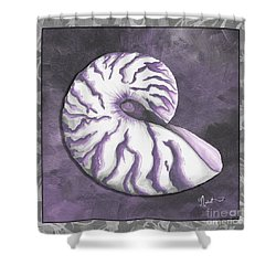 Sophisticated Coastal Art Original Sea Shell Purple Painting Royal Nautilus By Madart Shower Curtain by Megan Duncanson